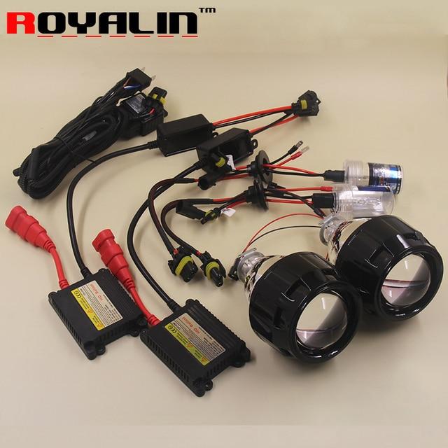 ROYALIN 2.5 Mini Bi Xenon HID Projector Headlights Lens Kit AC H1 Bulbs Slim Ballast Relay