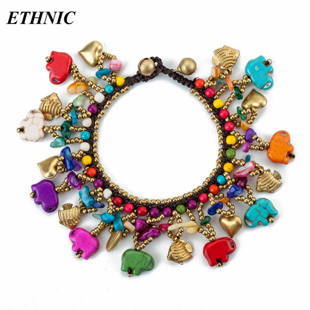 ETHNIC Brand 2018 Boho Colorful Elephant Shape Stone Beads Charm Bracelets for Women Fashion A Bracelet Gold-color Beaded Chain