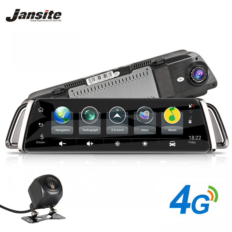 Jansite 4G Dash Cam Android 5.1 Car Camera 10 inch Touch Screen GPS Navigation Video Recorder Bluetooth Wifi Rearview Mirror