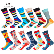 LIONZONE 12Pairs/Lot Men's Dozen Combed Cotton Argyle Casual Crew Socks Happy Socks