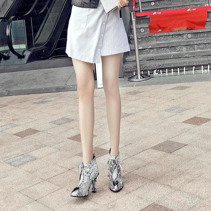 Encaje Serpentina Mujer Para Cortas 40 Black Señaló Metal Botas Toe Zapatos Negro Gran De Enmayla Escondidas Mujeres Tamaño Alta Talones serpentine Tobillo gqyzS
