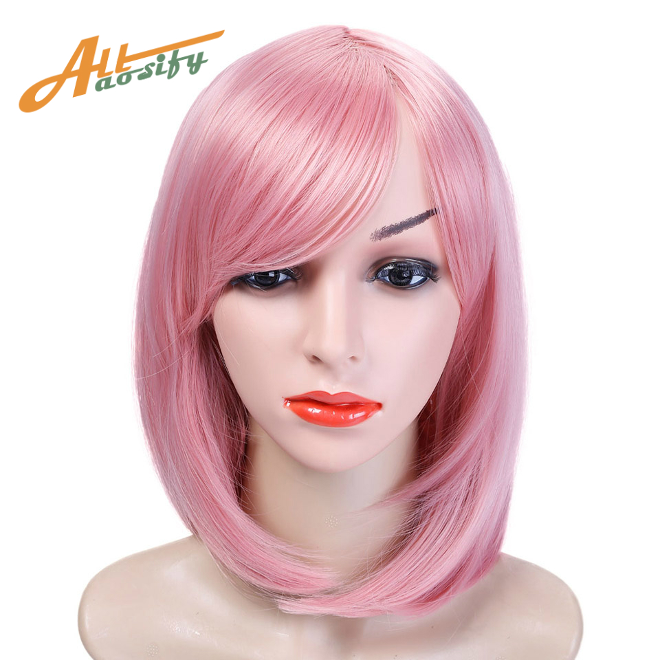 Allaosify 10 Colors Bob Short Straight Wig Costume Halloween Party High Temperature Fiber Synthetic Cosplay Wig