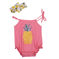 New Arrivals Summer Sleeveles Pineapple Romper+headwear 2pcs Toddler Baby Girls Cute Romper Jumpsuit Clothes Hot Sales