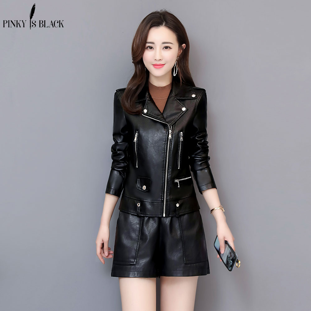 PinkyIsBlack Faux   Leather   Jackets Women Short Motorcycle Jacket Women Plus Size 4XL Casual Womens   Leather   Jackets And Coats