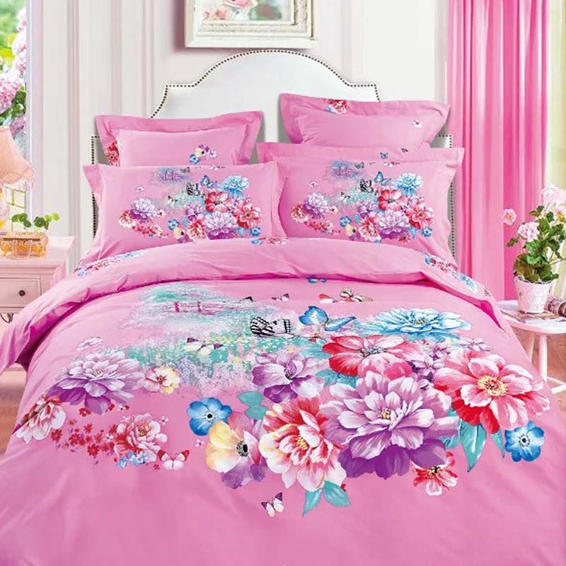Flower And Erfly Pink Blue Bedding Set Queen Size Quilt Cover Bedlinens Cotton Fabric Four Piece Kit S Bedroom Sets In From Home