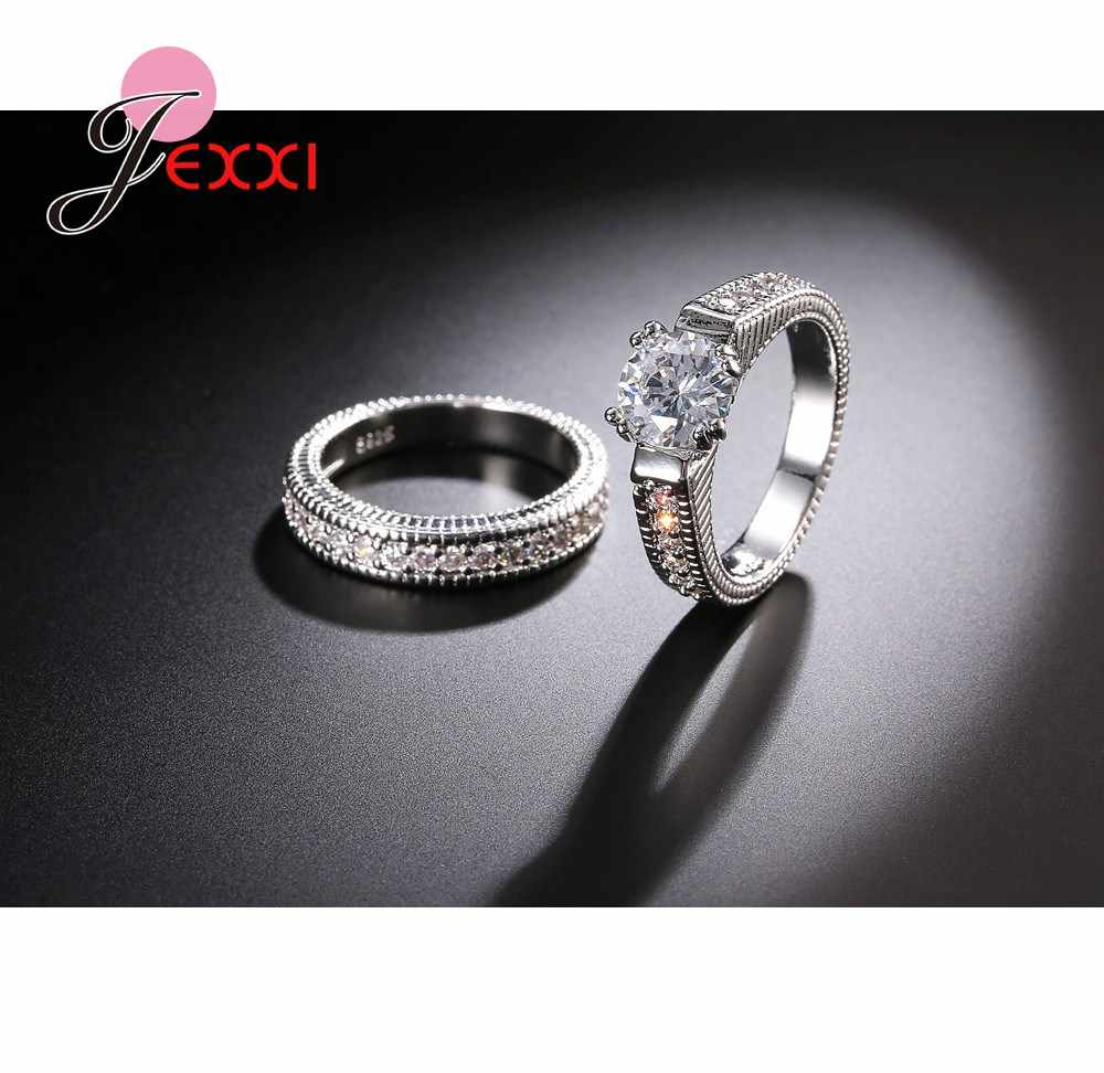 Romantic 2PCS Couple Ring Set Best Quality 925 Sterling Silver Stamp Cubic Zirconia Women Engagement Rings Wedding Jewelry