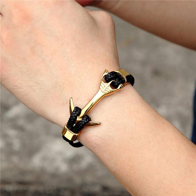 MKENDN New Fashion złoty lew kotwica ze stali nierdzewnej szekle czarny warkocz skórzany bransoletka męska bransoletka biżuteria