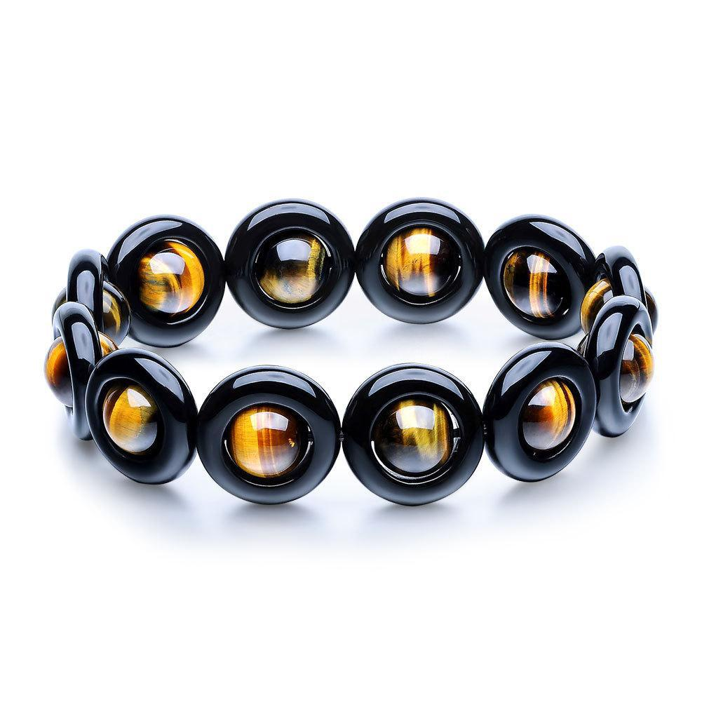 Natural Obsidian Onyx Beads Bracelet For Men Women Satellite Design Dragon Six Words Tiger Eye Strand Bracelet Buddhism Jewelry 8aaaaaaaa natural stone gold obsidian cat s eye round beads stretch bracelet jewelry with lucky evil brave troops for men women