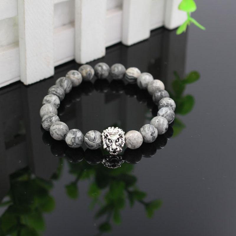 Natural Mrble Stone Lion Head Bead Bracelets Bangles Handmade Male Lion Charm Strecth Bracelet Men Women Jewelry pulseras hombre
