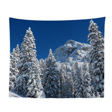 Arctic Snow Mountain Landscape Art Tapestry Wall Hanging Colorful Printed Curtain Watercolor Eye Decorative Tapestry Bedspreads happy easter letters printed tapestry wall art