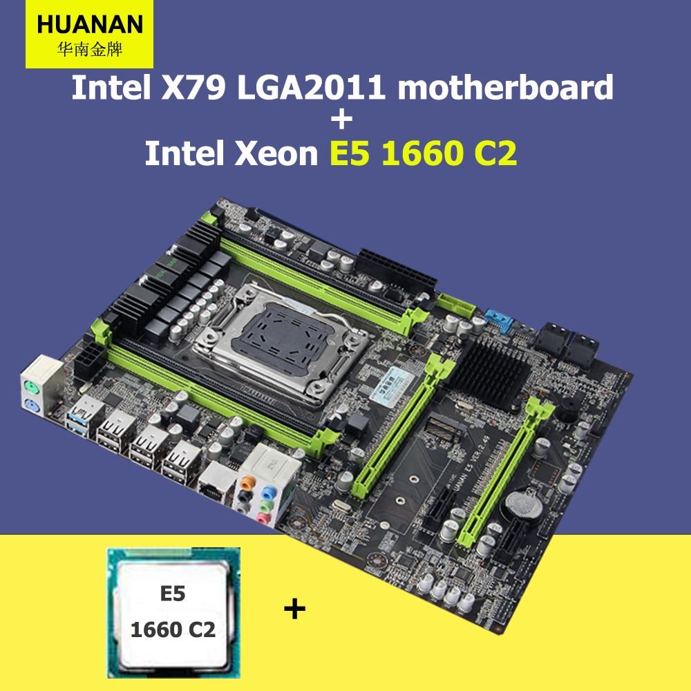 Discount motherboard HUANAN ZHI X79 motherboard CPU set Intel Xeon E5 1660 3.3GHz X79 LGA2011 ATX mainboard 2 years warranty