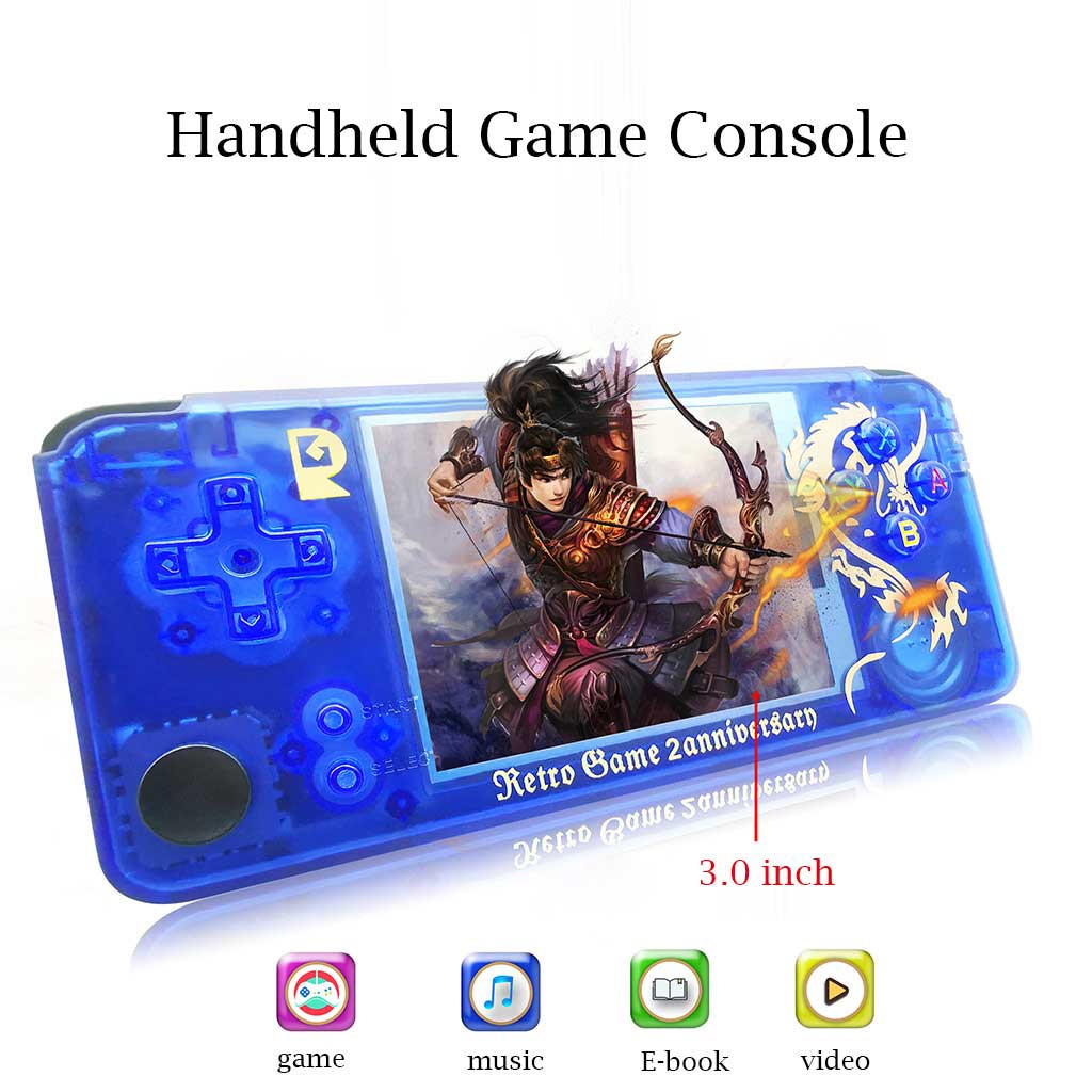 Retro Game Console Portable Handheld Game Player Built-in 3000 classic Game joystick 3-inch HD LCD Dual core 528MHz 16GB(China)
