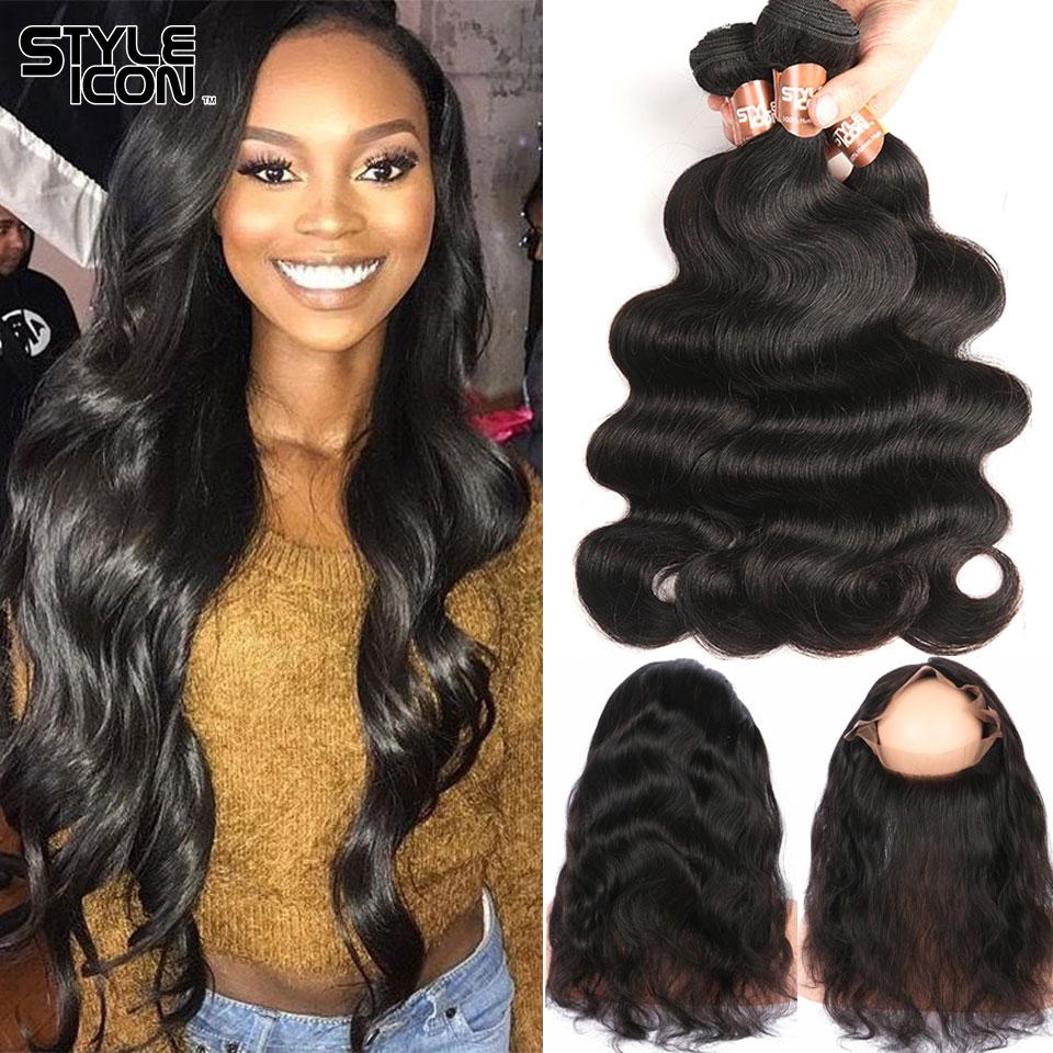 Styleicon 브라질 바디 웨이브 Human Hair Weave 2 3 4 묶음과 - 인간의 머리카락 (검은 색)