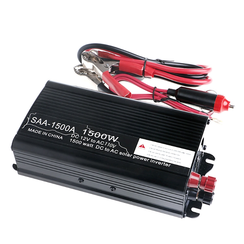 Solar Power Inverter 12V DC To 110V AC Modified Sine Wave Converter 1500W solar power on grid tie mini 300w inverter with mppt funciton dc 10 8 30v input to ac output no extra shipping fee