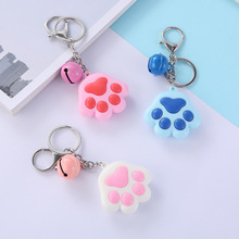 Wholesale Women Key Chain Mixed Color Enamel Cat Dog/Bear Paw Prints 2019 New Girls Keyrings For keychain bag Jewelry
