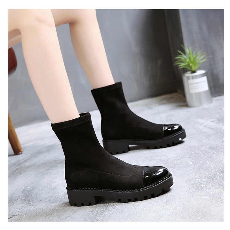Streç çizmeler kadın fashon ayak bileği streç çizmeler tenis masculino için adulto zapatillas mujer ofis bayanlar kariyer zapatos de mujer