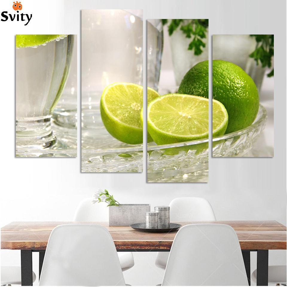 4 panels lemon fruit green canvas painting modern wall paintings for home decorative wall art picture paint on canvas prints