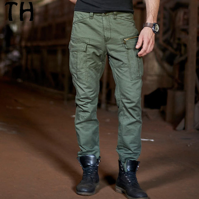 2017 Spring Autumn Zipper Pockets Casual Pants Men Solid Straight Military Cargo Pants Long Trousers Pantalon Homme #162024