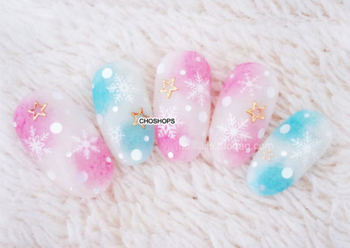 Nail Sticker WATER TRANSFER DECAL HALO FUZZY MULTI COLORS ROUND SPOT WHEEL SHAPE YR007-012 image