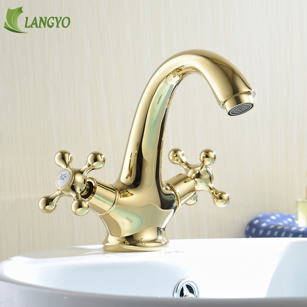 BECOLA modern hot and cold basin mixer taps gold bathroom faucet two handle single hole water tap Brass basin faucet HY-808 цена 2017