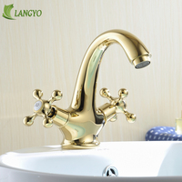 BECOLA modern hot and cold basin mixer taps gold bathroom faucet two handle single hole water tap Brass basin faucet HY 808