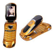 W8 flip flashlight Russian keyboard Dual SIM small size mini sport super car model cell mobile cellphone P090(China)