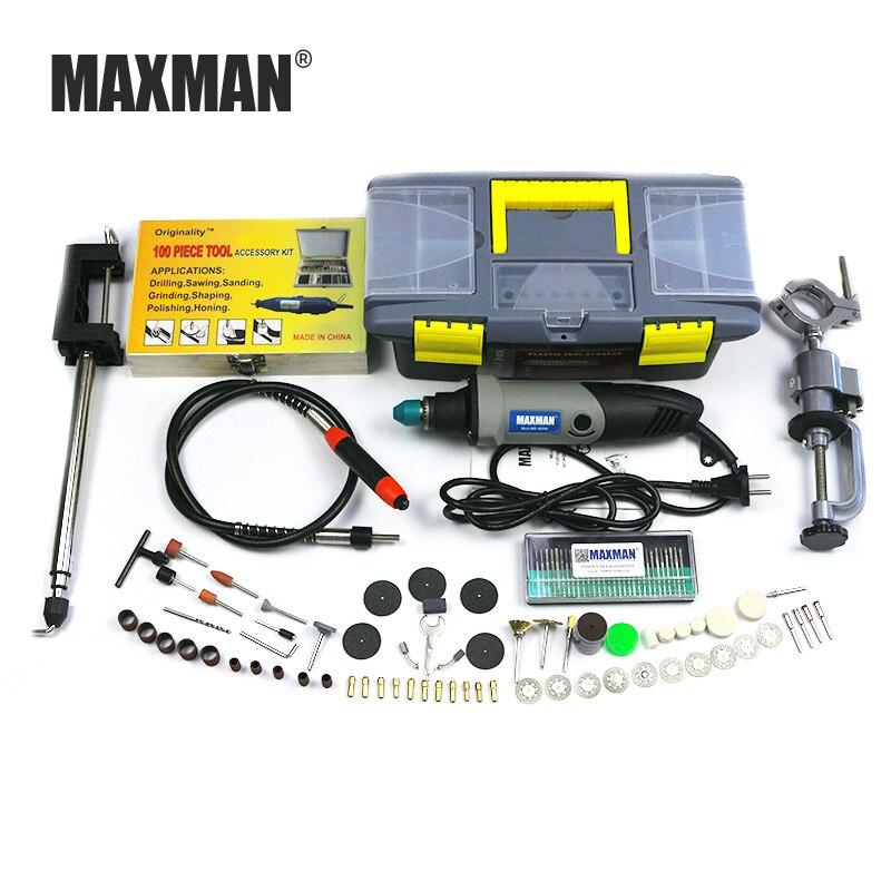 MAXMAN Dremel 220 V/110 V Mini eléctrico Die Grinder Dremel herramienta 0,6 ~ 6,5mm Chuck velocidad Variable herramienta DIY Multi herramientas eléctricas