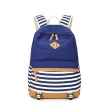Westcreek Preppy Bagpack Weibliche Leinwand Striped Printing Rucksack Rucksack Dame Schultaschen für Jugendliche Mädchen