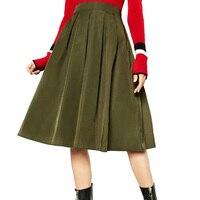 2016 ירוק צבא נשים קפלים חצאיות אופנה חדשה כל משחק מוצק אלסטיים מותן חצאיות Saias Femininas Vintage חצאיות לנשים