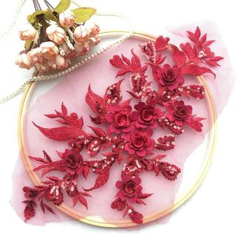 cad909dbe Vino rojo de seda flores motivo corpiño 10 piezas lentejuelas encaje  francés 3D flor apliques bordado flor apliques de novia
