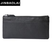 JINBAOLAI עיצוב חדש ארנק עור אמיתי עבור גברים זכר תיק קלאץ 'סלים עור ארנקים עבור טלפון 7 & מחזיק כרטיס ארנקים מטבע