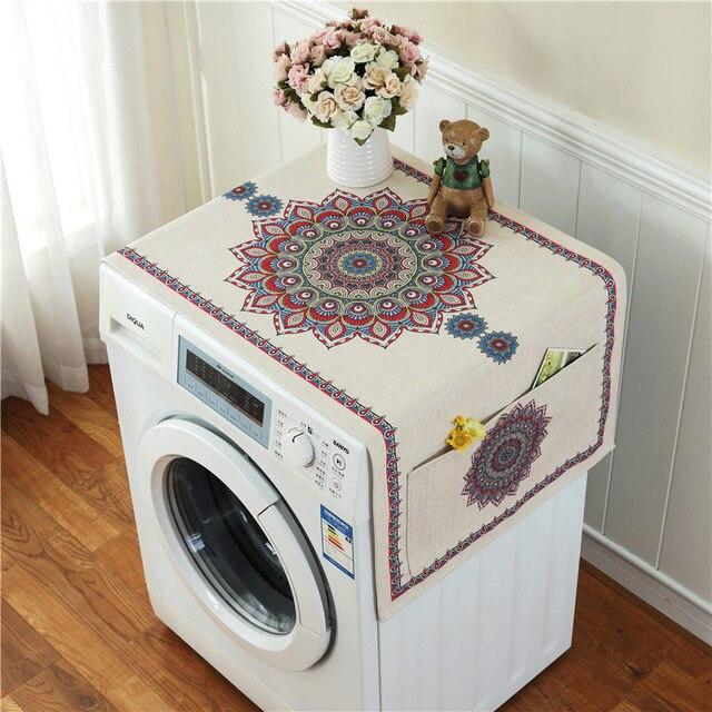Ретро Европейский цветочный принт стиральная машина пылезащитный чехол для холодильника с карманом для хранения льняной ткани ремесло 1 шт./лот FC119 - Цвет: 10
