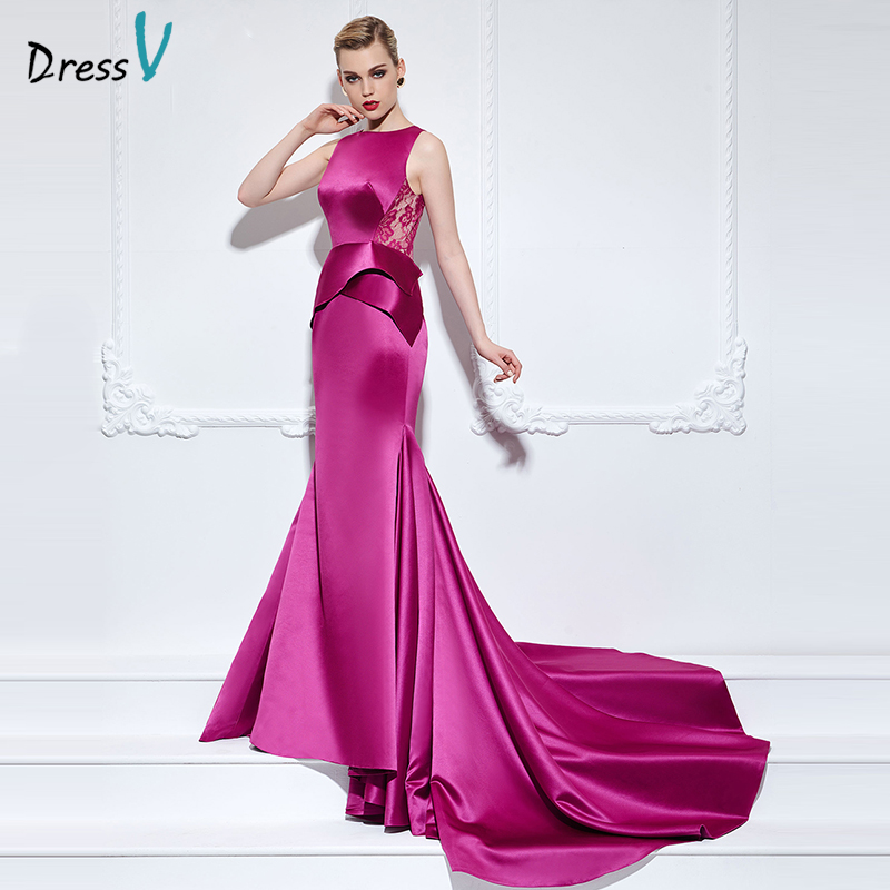 Dressv mermaid/trumpet scoop neck long   evening     dress   lace sleeveless button lace up court train   evening     dress   celebrity   dress