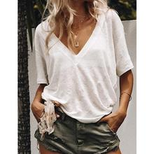 2019 New Yfashion Women Summer V-neck Short-sleeved Solid Color Leisure Loose Sexy T-shirt