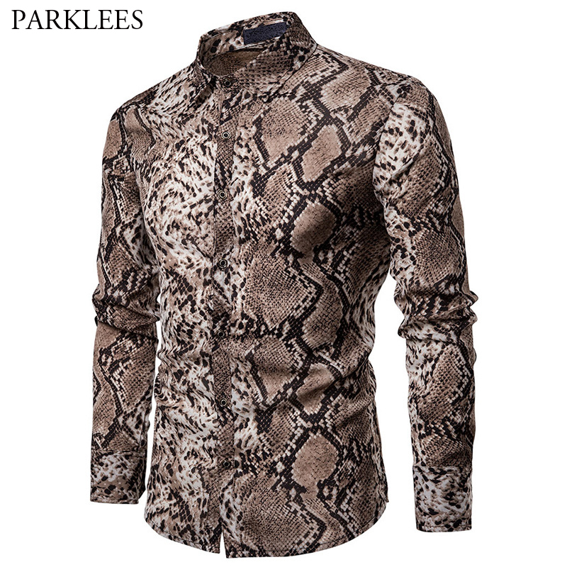 Sexy Snake Pattern Print Shirt Men 2019 Brand New Long Sleeve Mens Dress Shirts Hip Hop Streetwear Casual Shirt Camisa Hombre