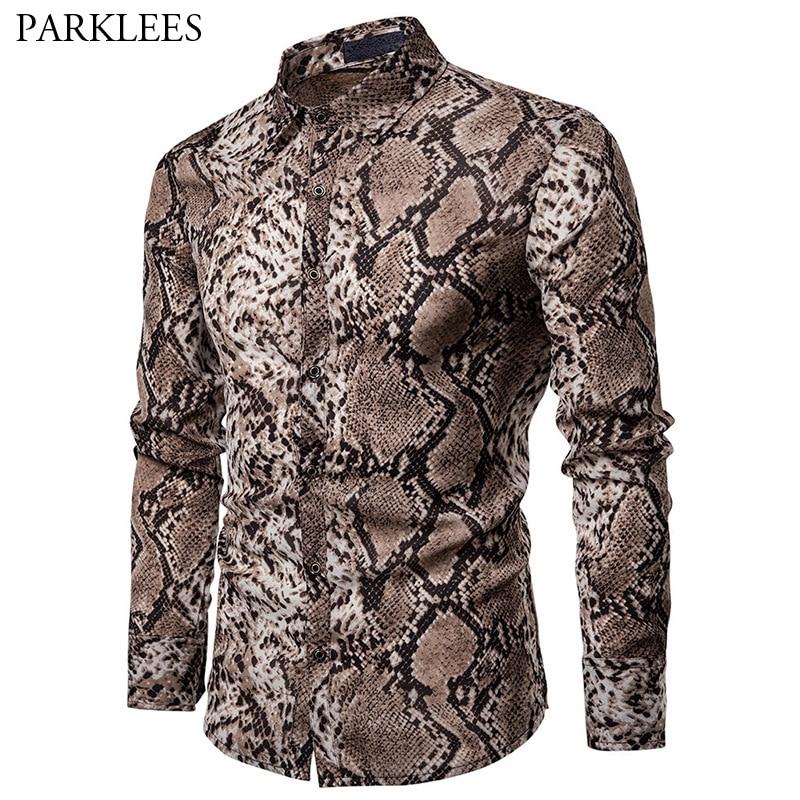 Sexy Snake Pattern Print Shirt Men 2019 Brand New Long Sleeve Mens Dress Shirts Hip Hop Streetwear Casual Shirt Camisa Hombre