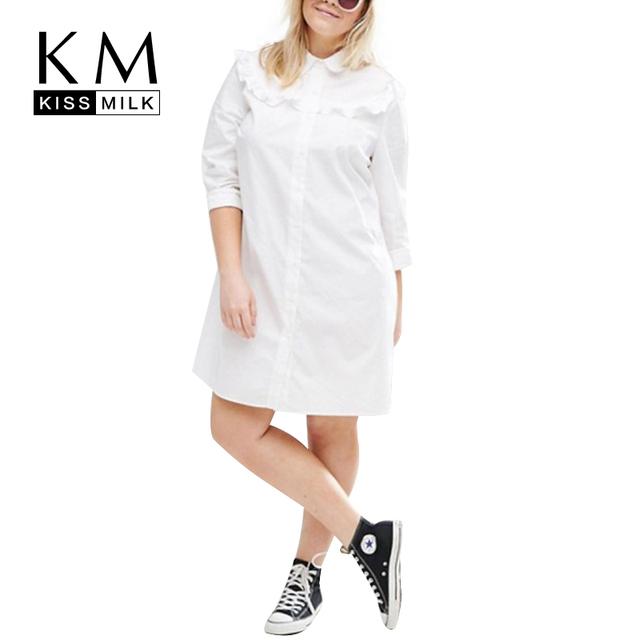 Kissmilk Más El Tamaño Mujeres Ropa de Moda Otoño Sólido Hasta La Rodilla Vestido de Manga Larga Regular Del Vestido 3XL 4XL 5XL 6XL