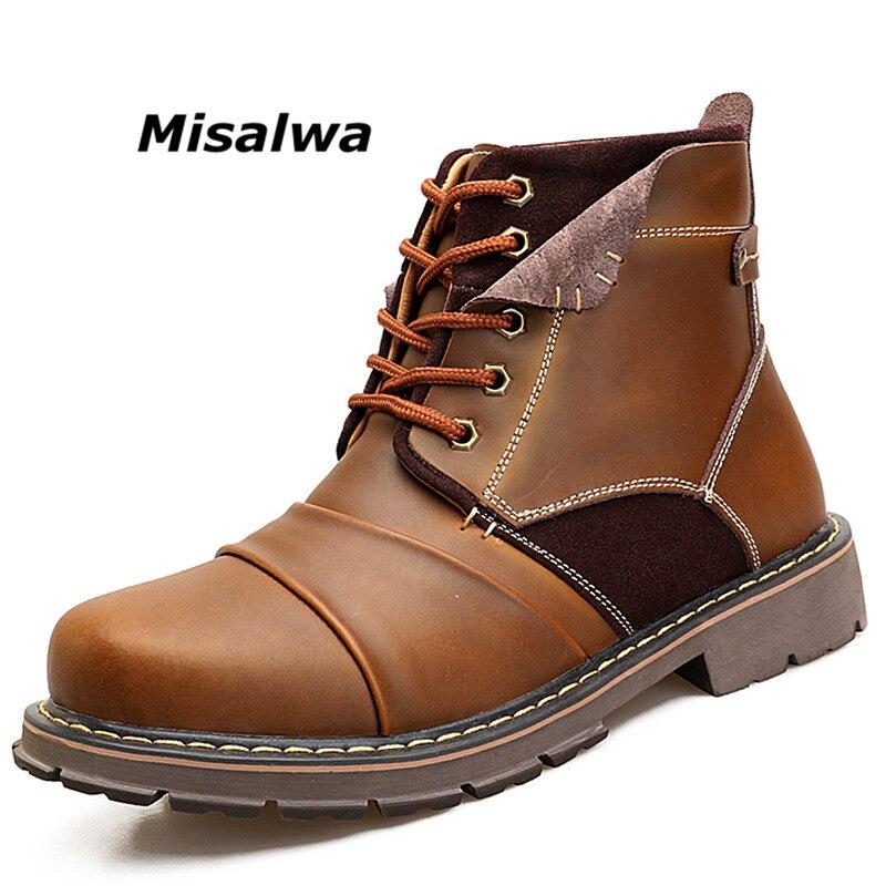 Misalwa 2018 Noir Brun Composite Orteil Bottes De Travail pour Hommes En Cuir Épissage Automne Chaussures De Sécurité De Travail D'hiver Cheville Botas Hombre