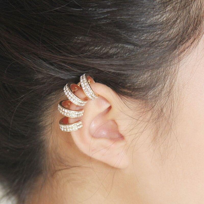 1 Pc Mode Trendy Individualität Manschette Strass Clip Ohrringe Frauen Ohr Schmuck Geschenk Runde Nizza Großhandel Mit 2 Farben