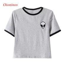 3D Print Aliens Crop Top Short Sleeve Loose Type O- neck T-Shirt  Women Teenagers T-shirts Summer Women Tops