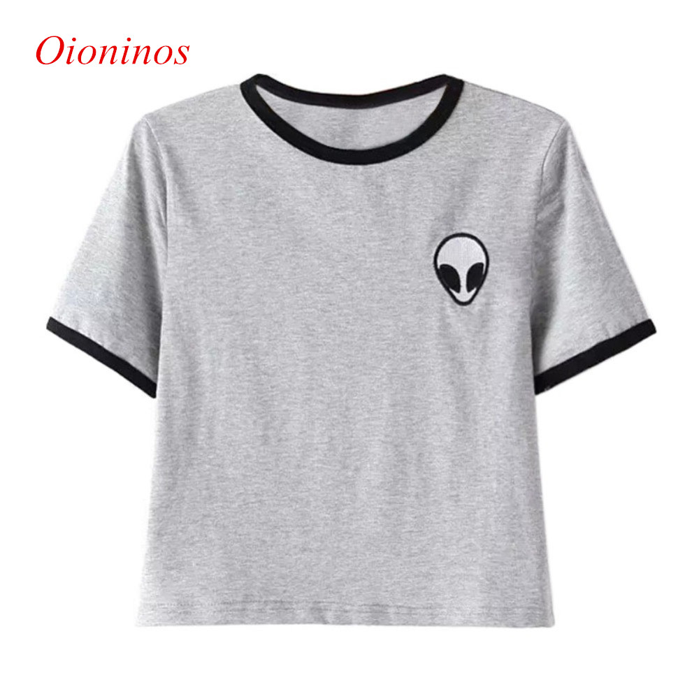 3D Print Aliens Crop Top Short Sleeve T Shirt Women Camisetas Teenagers T-shirts Summer Women Tops