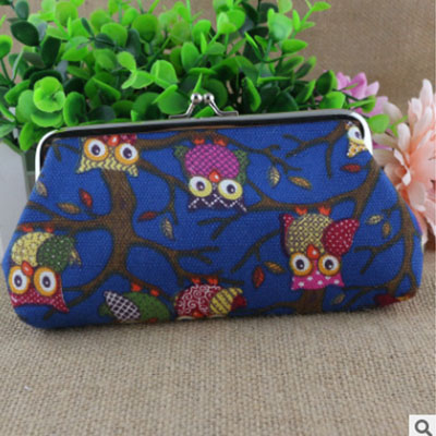 XIYUAN BRAND Women Canvas long Coin Purse Female Cloth Cute wallet for key or phone fat fish key wallet coin purse package characteristics of the national wind cloth animal key sets key ring wholesale mixed batch