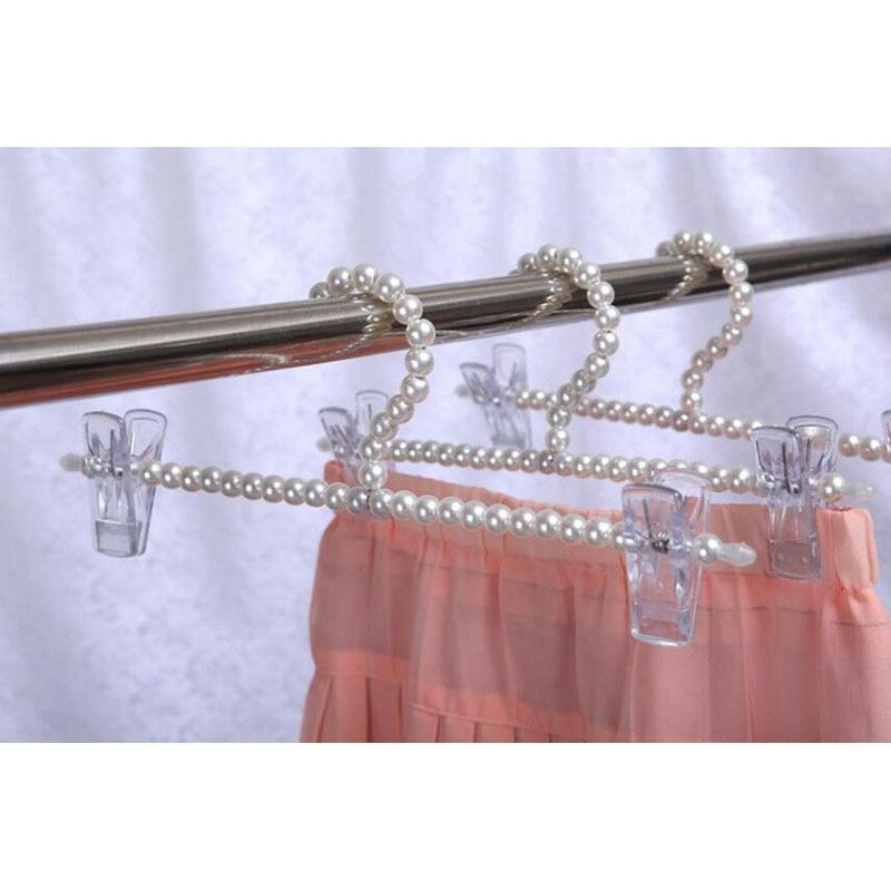 10 stks / partij Kleurrijke Fancy Parel Broek Rok Hanger met Clips, - Home opslag en organisatie - Foto 6