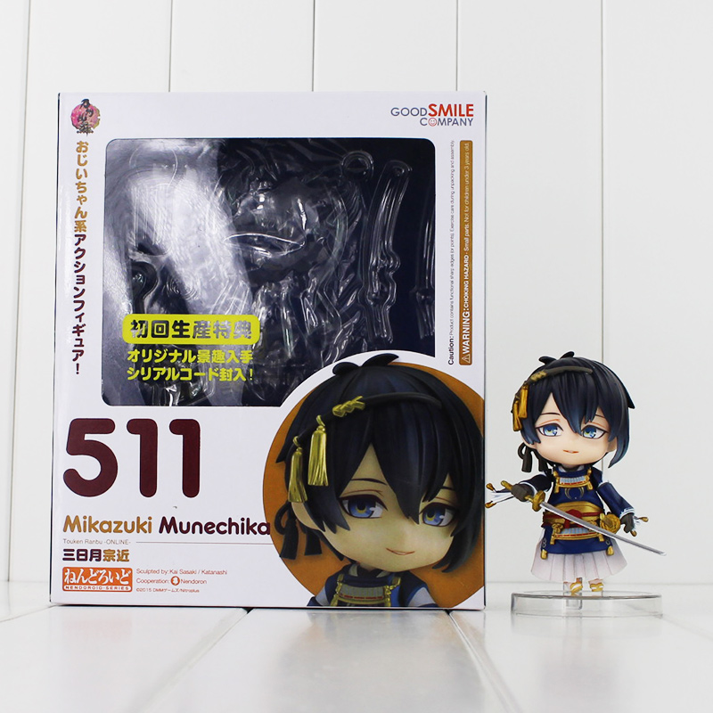4 10cm High Quality Nendoroid Touken Ranbu Online #511 PVC Action Figure Toys Mikazuki Munechika Model Toys Kids Brinquedos original box sonic the hedgehog vivid nendoroid series pvc action figure collection pvc model children kids toys free shipping