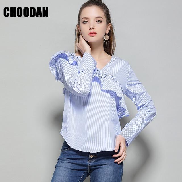 Long Sleeve Blouse Shirt Elegant Ruffles Striped Women Blouses 2018 Korean Fashion Casual White