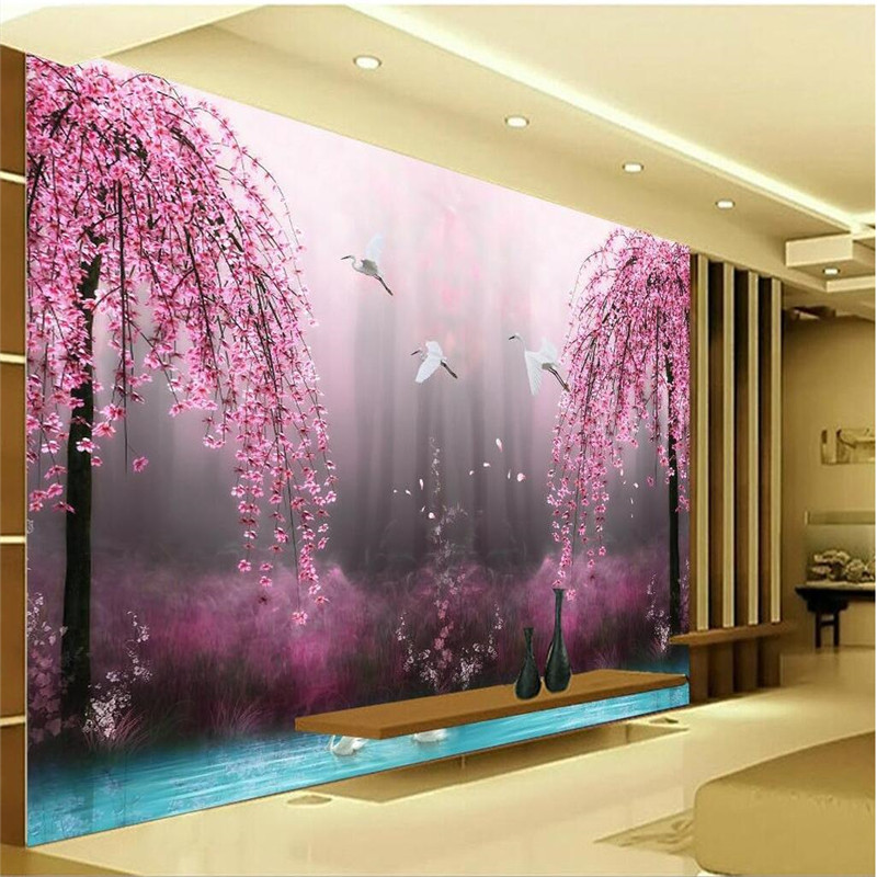 Buy romantic purple peach crane lake wall for Images of 3d wallpaper for bedroom