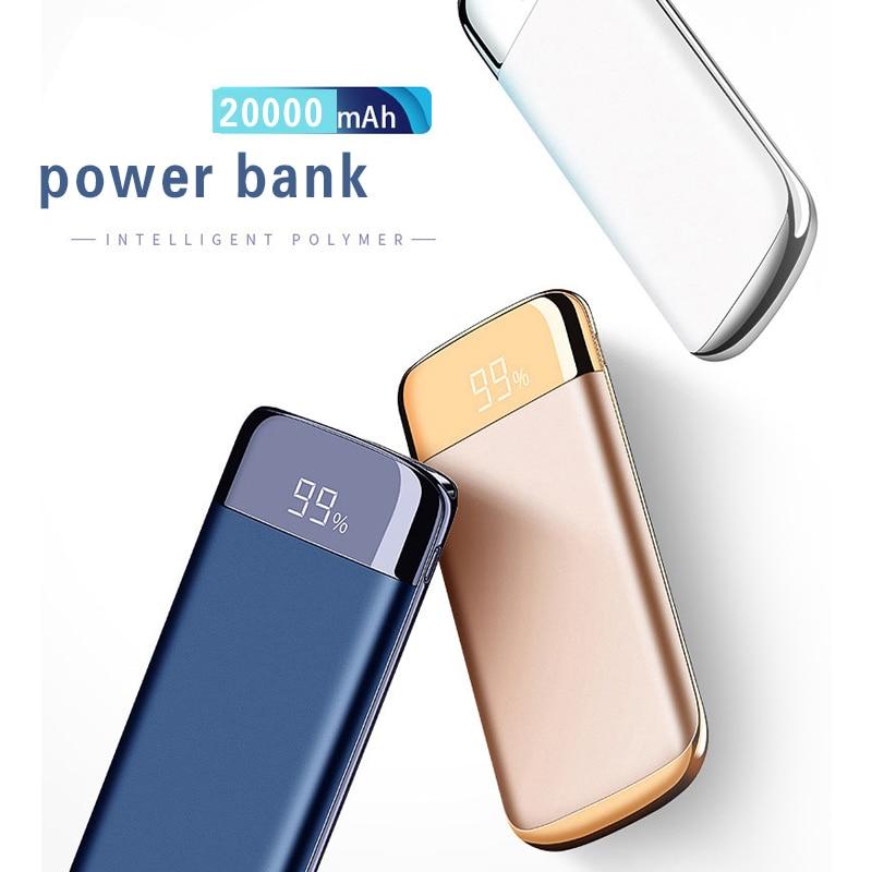 Inalámbrico USB Dual del cargador del banco de potencia 20000 mah portátil Digital cargador de Banco de energía externa de batería para iphone X 8