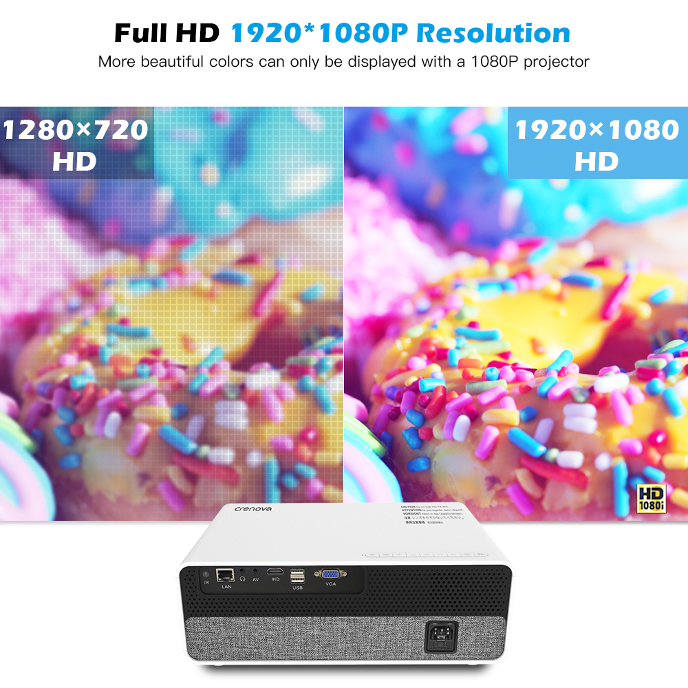 CRENOVA 2019 Newest Full HD 1080P Physical Resolution Android 8 0 OS Video Projector With 5G