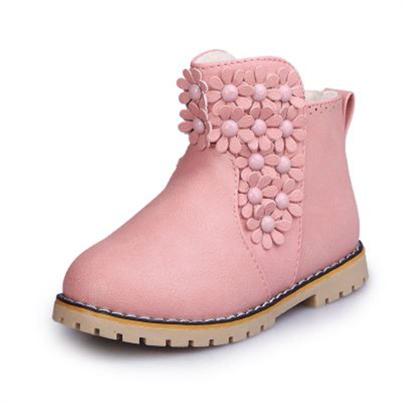 2016 Brand Children Boots Infantis Winter Shoes Girls Boots Flower Flat Ankle Waterproof Slip-Resistant Fashion Kids Snow Boots