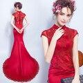 2017 New Chinese Style Red Skinny Mermaid Improved Cheongsam/Toast Dress/Red Wedding Dress 1190